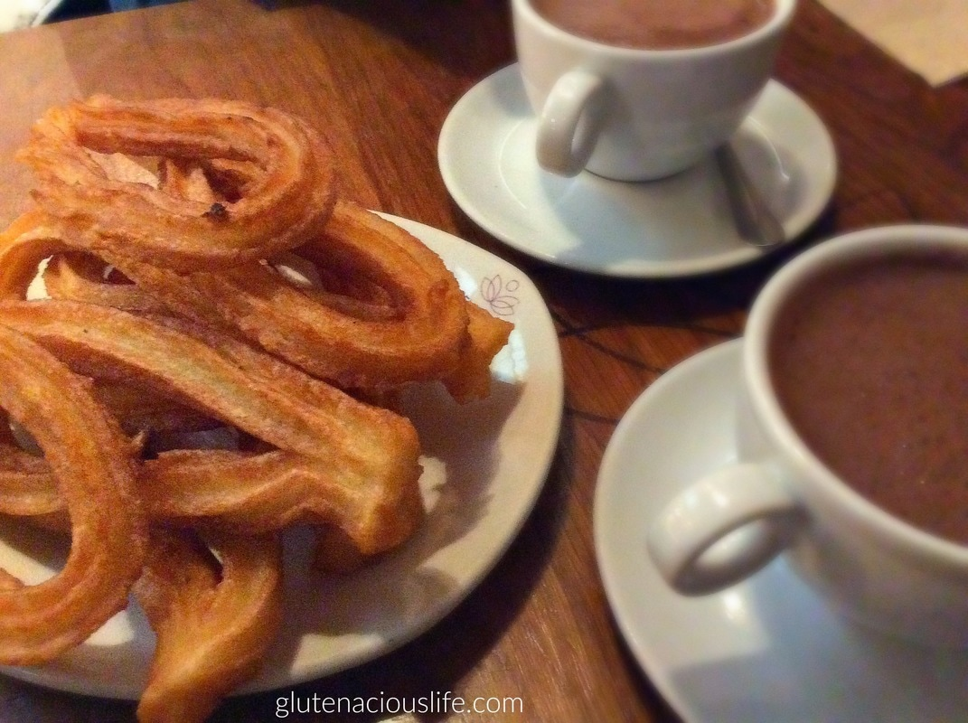 Where to eat gluten-free churros and chocolate in Madrid: Celicioso | Glutenacious Life.com