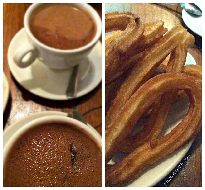 Gluten-Free Churros Lactose-Free hot chocolate Madrid Delicioso